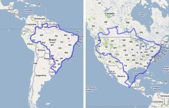 MAPfrappe Google Maps Mashup - Brazil vs United States